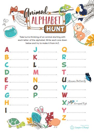 Camping Printable - Animal Alphabet Hunt activity