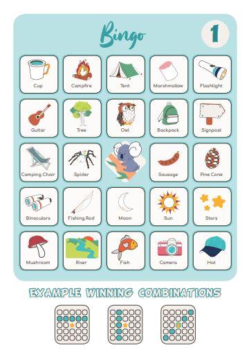 Camping Printable - Camping Bingo game