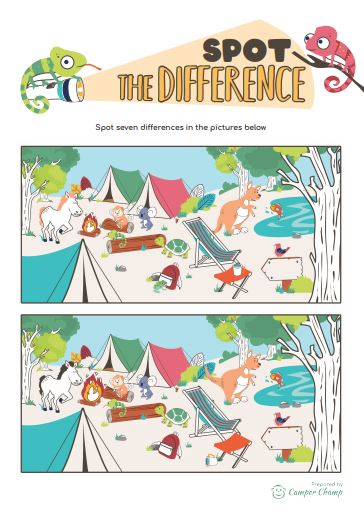 Camping Printable - Campsite Spot the Difference activity sheet